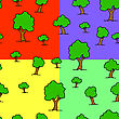 Seamless Wallpaper Tree On Different Color Backgrounds