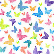 Seamless Watercolor Butterflies Pattern. Vector Illustration