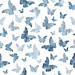 Seamless Watercolor Gray Butterflies Pattern. Vector Illustration