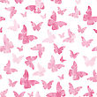 Seamless Watercolor Pink Butterflies Pattern. Vector Illustration