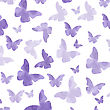 Seamless Watercolor Purple Butterflies Pattern. Vector Illustration