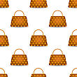 Seamless Womens Orange Handbag Pattern On White Background