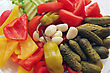 Spin Selection Of Vegetables-tomato, Sweet Peppers, Cucumbers, Garlics, Summer Squash stock photo