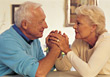 Positive Senior Couple Holding Hands, Support stock photo