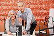 Senior Couple In A Restaurant stock photography