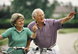 Senior Couple on a Bike Ride stock photo