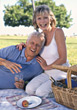Senior Couple On A Picnic stock photography