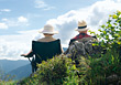 Senior Couple Sitting & Enjoying the View stock image