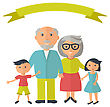 Senior Grandparents With Their Grandchilds. People Family Concept. Flat Style Vector. Grandparent Day Illustration