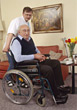 Handicapped Senior in Wheelchair stock image