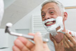 Senior Shaving stock image