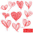 Set Of 10 Scribbled Hand-drawn Sketch Hearts For Valentines Day Design