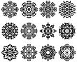 Set Of 12 Circle Ornaments In Shape Of Snowflakes