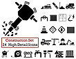 Set Of 24 Construction Icons In Black Color