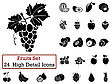 Set Of 24 Fruits Icons In Black Color stock illustration