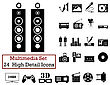 Set Of 24 Multimedia Icons In Black Color