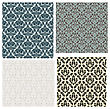 Set Of 4 Damask Seamless Patterns Design
