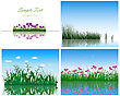 Set Of 4 Grass On Water Backgrounds