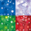 Set Of 4 Snow Backgrounds, Illustration Seamless Pattern With Different Color Snowflakes For Winter And Christmas Theme