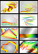 Set Of 8 Bright Colored Backgrounds Isolated On Black