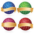 Set Of Abstract Planet Globes In Golden Ribbons