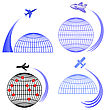 Set Of Airplane Icons Isolated On White Background. Around The World Travelling By Plane. Summer Vacation