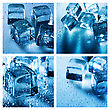 Set Of Assorted Backgrounds With Ice Cube And Water Droplets stock photo