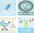 Set Baby Boy Announcement Card. Vector Illustration stock illustration