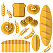 Set Of Bakery Products Icons Isolated On White Background. Bread Icons