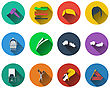 Set Of Barber Icons In Flat Design. EPS 10 Vector Illustration With Transparency