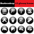 Set Of Barbershop Glossy Icons. EPS 10 Vector Illustration