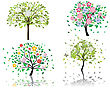 Set Of Beautiful Summer Tree With Blossom Flowers stock illustration