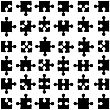 Set Of Black Jigsaw Puzzles. Vector Illustration