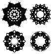 Set Of Black Ornaments Isolated On White Background