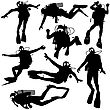 Set Black Silhouette Scuba Divers. Vector Illustration