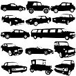 Set Black Silhouettes Of Different Types Of The Cars On White Background. Vector Illustration
