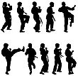 Set Of Black Silhouettes Of Karate. Sport Vector Illustration