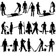 Set Of Black Silhouettes Of Men And Women With Shovels And Buckets. Vector Illustration