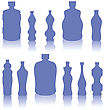 Set Of Blue Bottles Silhouettes Isolated On White Background