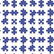 Set Of Blue Pazzle Isolated On White Background. Seamless Jigsaw Pattern