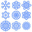 Set Of Blue Snowflakes Isolated On White Background
