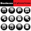 Set Of Business Glossy Icon. EPS 10 Vector Illustration