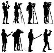 Set Cameraman With Video Camera. Silhouettes On White Background stock illustration