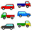 Set Cars, Trucks And Cars. Vector Illustration.