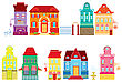 Set Of Cartoons Fairy Tale Drawing Houses Isolated On White Background. Series Separate Lodge