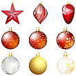 Set Of Christmas (New Year) Balls. EPS 10 Vector Illustration With Transparency And Mesh.