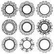 Set Of Circle Geometric Ornaments Isolated On White Background. Monochrome Elegant Mandala. Vintage Set Of Outline Oriental Emblems And Badges