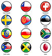 Set Circle Icon Flags Of World Sovereign States. Vector Illustration