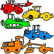 Set Color Silhouettes Road Construction Equipment. Vector Illustration