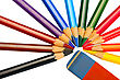 Set Of Colored Pencils And Eraser stock photography